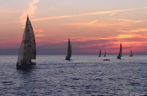 Sailboats at Sunset near St. Joseph, Michigan.
